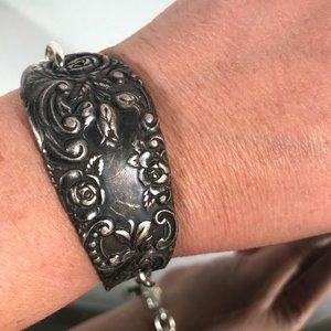 Antique Silver plated Cuff Bracelet Art Nouveau